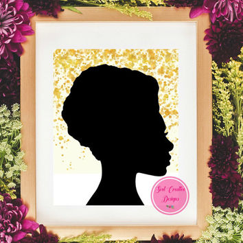 Printable Wall Art, African American Glitter Print, Afro American Wall Art, African Black Art Poster, Black Art Printable, African Women Art
