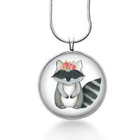Raccoon w/ flowers  Necklace - Animal forest - hand painted art Pendant, round