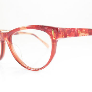 Joop! , 1990s , Vintage Eyeglasses , Red , Tortoise , Red Mosaic , Cat Eye , Kitty , Hipster , Sunglass Frames , New Old Stock