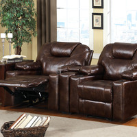 3 pc Davos contemporary style dark brown leather like fabric home theater seating set with center console wedge