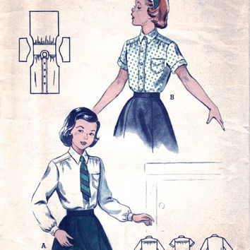 1950's Girl's Blouse Pattern / Vintage Sewing Pattern Woman Girl's Shirt / Butterick Pattern 518 / Bust 28""
