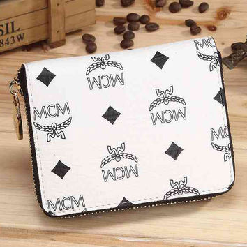 MCM Women Leather Zipper Purse Wallet