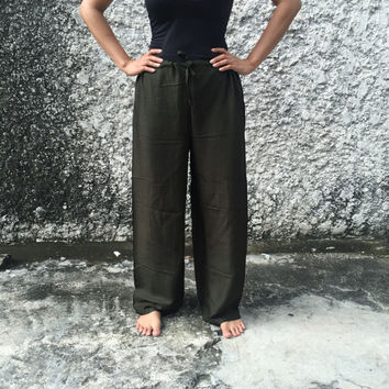 Green Lounge Yoga Harem pants Self tie Trousers Solid color Soft comfy Genie Hippies Boho Fashion Style Gypsy Cloth For Exercise Beach Olive