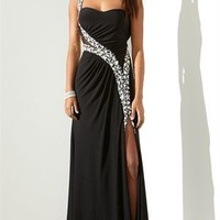 One Shoulder Long Prom Dress with Illusion Waist and Side Slit
