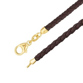 3mm Brown Braided Leather Cord Necklace with 14k Gold Clasp -18 Inch