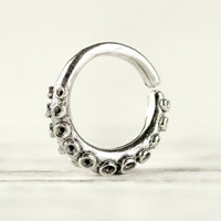 Octopus Tentacle Septum Ring Nose Ring Body Jewelry Sterling Silver Bohemian Fashion Indian Style 14g 16g - SE035R SS