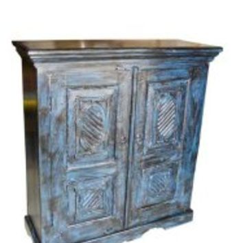 Old Door Armoire Hand Carved Blue Patina Cabinet Furniture From India | Mogul Interior