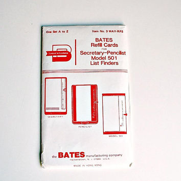 Bates Refill Cards Vintage Bates Secretary Pencilist Refill Cards For Model 501 List Finders One Set A to Z New Old Stock