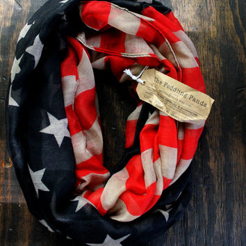 Vintage Inspired American Flag Infinity Scarf Red, Navy and Biege, Soft, Vintage Style, Lightweight, Year-Round Scarf, Spring Scarf