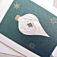 handmade iris fold Christmas card – Merry Christmas ornament