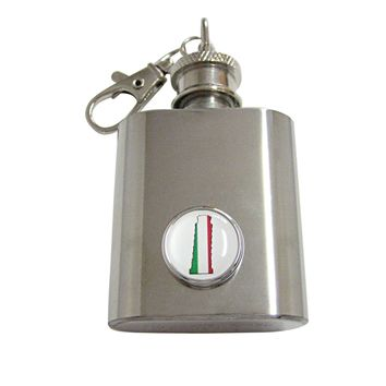 Italy Flag Leaning Tower of Pisa 1 Oz. Stainless Steel Key Chain Flask