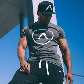 Summer style men cotton Short sleeve t shirt Fitness bodybuilding shirts Crossfit male Brand tee tops Fashion casual clothing