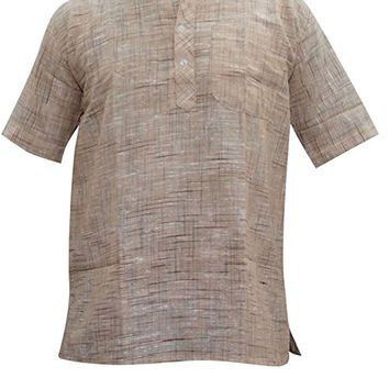 Mens Indian Kurta Mandarin Collar Cotton Bohemian Ethnic Festive Shirt Kurta Short Tunic