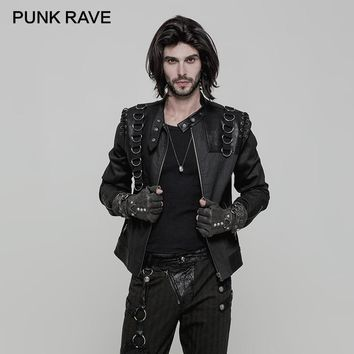 Men's Gothic Punk Leather Stand-Up Collar Zipper Biker Jacket