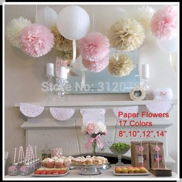 DKF4S DIY 10 inch 25 cm Decorative Tissue Paper Pom Poms Flower Balls for Birthday Party Supplies Wedding Decorations