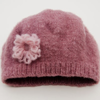 Girls Knit Hat - Pink Knitted Hat - To Fit 2 to 4 Years Old Girl - Hat Winter Accessories for Children - Handmade Knitted Hats for Kids