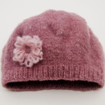 Girls Knit Hat - Pink Knitted Hat - To Fit 2 to 4 Years Old Girl cb2a5a199a6