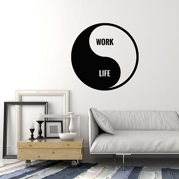 Vinyl Wall Decal Asian Style Yin Yang Symbol Lettering Work Life Stickers Mural (g2746)
