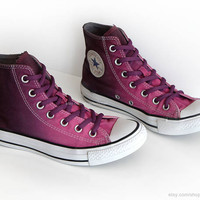 Ombré dip dye Converse All Stars, mulberry pink, wine red, upcycled vintage sneakers, high tops, eu 37 (UK 4.5, US wo's 6.5, US mens 4.5)
