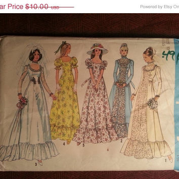 Uncut 1970's Simplicity Sewing Pattern, 6888! Size 10 Bust 32 Women's/Misses/Small/Medium/Wedding Dress/Gown/Prairie Reenactment Costum