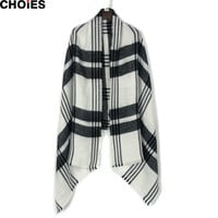 Black and White Striped Pattern Knitted Scarf Fall Winter 2016 Female New Acrylic Warm Long Fashion Outside Scarves