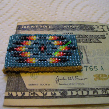 loom/square stitch beaded Native American inspired Mitakuye Oyasin Money clip