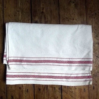 Two vintage tea towels / French linen / white red / french farmhouse  / retro / linens / Dolly Topsy Etsy UK