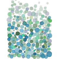 Blue Green Bubbles watercolor painting dots print giclee  abstract watercolor print