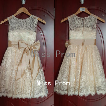 lace flower girl dress wedding flower girl dress wedding girl dress lace flower girl dresses with sash/bow