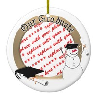 Snowy Graduation Photo Frame Ceramic Ornament
