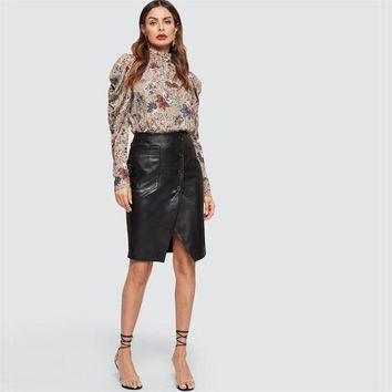 Lerilie Faux Leather High Waisted Slit Skirt