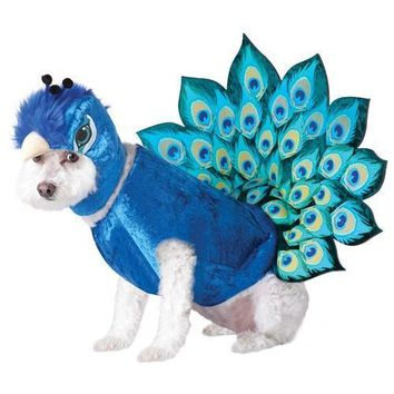 Peacock Design Pets Costume Halloween Animal Cosplay Clothes for Dog Cat Hats Cape 2piece Set Festival Dogs Products