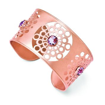 Leslie's Sterling Silver & Rose-tone 18k Flash Plated Amethyst Cuff F522