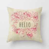 Hello Throw Pillow by rskinner1122