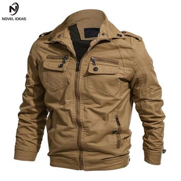 Novel ideas Military Jacket Men Spring Cotton Casual Jacket Coat Army Men Fashion Pilot Jackets Air Force Cargo Jaqueta