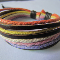 Real Leather and Multicolour Hemp Rope Cuff by sevenvsxiao on Etsy