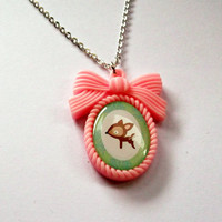 Deer Necklace Kawaii Pink Cameo Necklace by KitschBitchJewellery