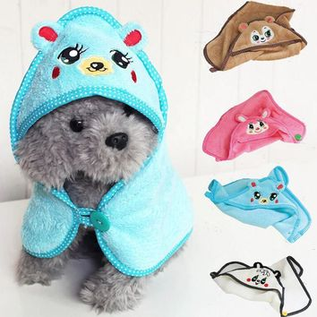 Cute Embroidered Animal Design Pet Warm Bear Print Dog Puppy Fleece Soft Blanket Beds Mat Cozy Doggie Blanket Towel Pet Grooming