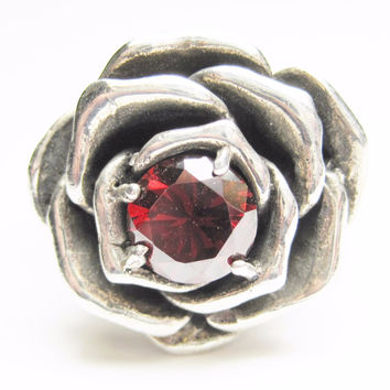 Heavy Sterling Garnet Rose Ring Sz 11