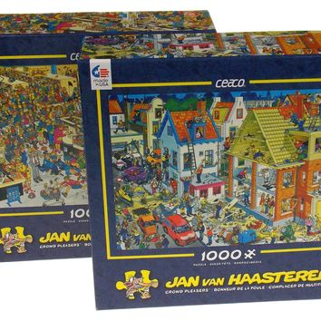 Ceaco Crowd Pleasers Jigsaw Puzzles 1000 Pc 27x20 Set of 2 USA Jan Van Haasteren