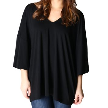 Black Piko 1988 V-Back Bell Sleeve Short Sleeve Top
