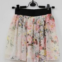 White Color Floral Pattern Chiffon Skirt [669]
