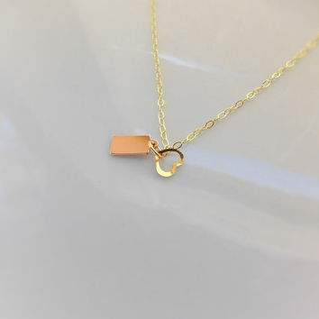 Plain Tag Necklace - Gold Heart Necklace - Rose Gold Tag - Gold Necklace - Minimalist - Dainty - Elegant - Engravable - Gold Chain Necklace