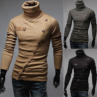 Asymmetrical Button Design Mens Funnel Neck Sweater