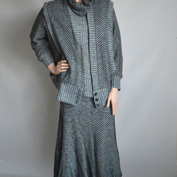 80s Vintage Oversized Cowl Neck Sweater Jacket Skirt /Lynn French  / Sz Small