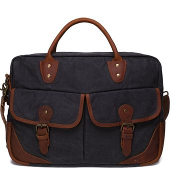 Waxed Canvas With Leather Trim Briefcase Satchel Messenger Bag