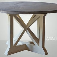 "54"" Round Zinc Table with Reclaimed Wood X Base"