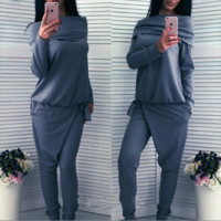 Autumn and winter women 's long - sleeved sweater two - piece leisure sportswear suits
