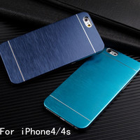 With LOGO Metal Back Shell Case For iPhone 4 4s 5 5S SE 6 6S Plus Matte Aluminum Phone Cover Cases for iPhone 4 4S Luxury Metal