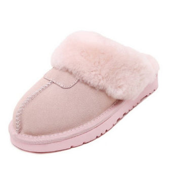 Plus Size 45 Men Women Winter Warm Genuine Sheepskin leather Real Wool Fur Slippers Indoor Home Warm Slippers Couples